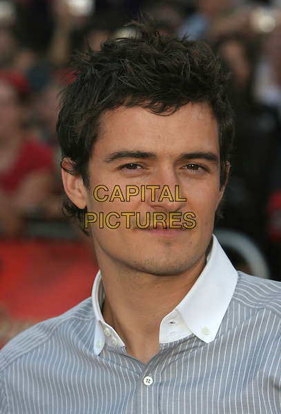"ORLANDO BLOOM.""Pirates Of The Caribbean: At World's End"" World Premiere held at Disneyland, Anaheim, California, USA,.19 May 2007..portrait headshot white collar grey pinstripe shirt.CAP/ADM/CH.©Charles Harris/AdMedia/Capital Pictures."