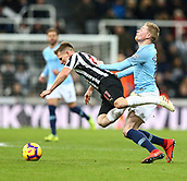 29th January 2019, St James Park, Newcastle upon Tyne, England; EPL Premier League football, Newcastle United versus Manchester City; Matt Ritchie of Newcastle United is fouled by Kevin de Bruyne of Manchester City who had already been booked in the first half but escaped a second yellow card