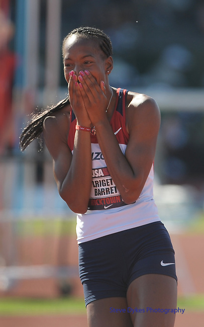 Brigetta Barrett reacts to clearing the bar during the women's high jump at the U.S. Outdoor Track and Field Championships in Eugene, Oregon June 24, 2011.  REUTERS/Steve Dykes (UNITED STATES)