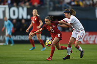 San Diego, CA - Sunday January 21, 2018: Mallory Pugh, Sofie Junge Pedersen prior to an international friendly between the women's national teams of the United States (USA) and Denmark (DEN) at SDCCU Stadium.