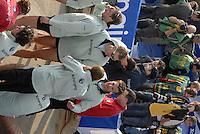London, GREAT BRITAIN,  Cambridge after winning  the 2007 Boat Race between Putney to Mortlake, on  Sat. April 7th. England [Photo Peter Spurrier/Intersport Images].CAMBRIDGE BLUE BOAT, bow, Kristopher McDaniel, Dan O?Shaughnessy, Peter Champion, Jacob (Jake) Cornelius, Tom James [President], Kieran West, Sebastian Schulte, Thorsten Engelmann, cox, Rebecca Dowbiggin Varsity Boat Race, Rowing Course: River Thames, Championship course, Putney to Mortlake 4.25 Miles,