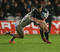 Gloucester's Louis Rees-Zammit in action during todays match<br /> <br /> Photographer Bob Bradford/CameraSport<br /> <br /> Gallagher Premiership - Gloucester Rugby v Exeter Chiefs - Friday 14th February 2020 - Kingsholm Stadium - Gloucester<br /> <br /> World Copyright © 2020 CameraSport. All rights reserved. 43 Linden Ave. Countesthorpe. Leicester. England. LE8 5PG - Tel: +44 (0) 116 277 4147 - admin@camerasport.com - www.camerasport.com