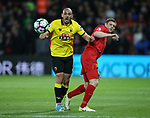 Watford's Nordin Amrabat tussles with Liverpool's James Milner during the Premier League match at Vicarage Road Stadium, London. Picture date: May 1st, 2017. Pic credit should read: David Klein/Sportimage