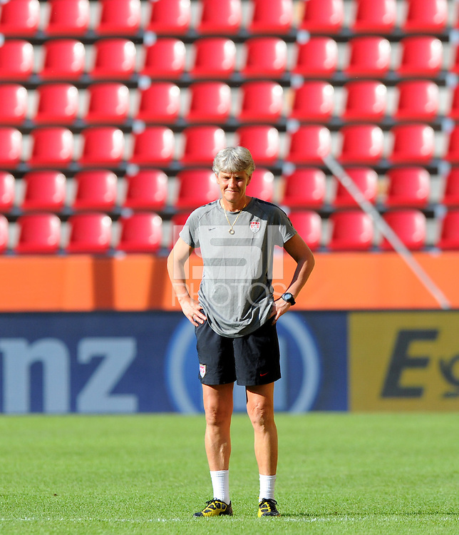 Pia Sundhage, coach of team USA, during a training session at the FIFA Women's World Cup at the FIFA Stadium in Dresden, Germany on June 27th, 2011.