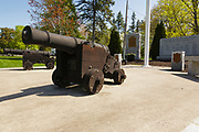 Reproduction of a British Naval Cannon in Remembrance Park in Greenland, New Hampshire USA.