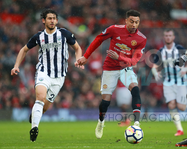 Jesse Lingard of Manchester United during the premier league match at the Old Trafford Stadium, Manchester. Picture date 15th April 2018. Picture credit should read: Simon Bellis/Sportimage