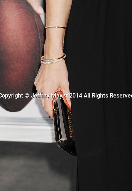 WESTWOOD, CA- APRIL 07: Actress Jennifer Garner (handbag, bracelets detail) at the Los Angeles premiere of 'Draft Day' at the Regency Village Theatre on April 7, 2014 in Westwood, California.