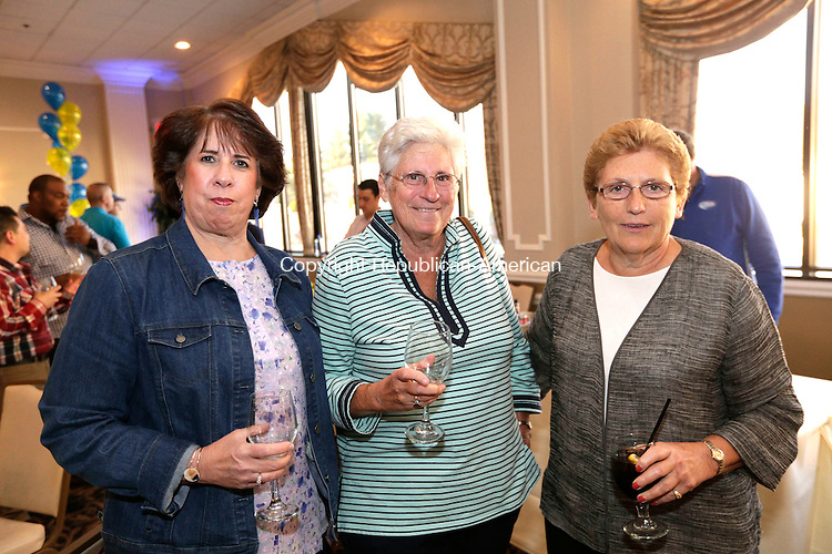 Waterbury, CT- 27 April 2016-042716CM12- SOCIAL MOMENTS From left to right, Peggy O'Brien of Waterbury, Diane DeWitt, and Deb D'Agostino of Watertown are photographed during The Waterbury Exchange Club Charitable Foundation 22nd Annual Wine & Beer Tasting at the La Bella Vista in Waterbury on Wednesday.  Christopher Massa Republican-American