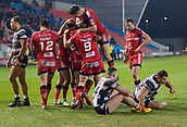 16th March 2018, The AJ Bell Stadium, Salford, England; Betfred Super League rugby, Salford Red Devils versus Hull FC; Salford celebrate Robert Lui's try