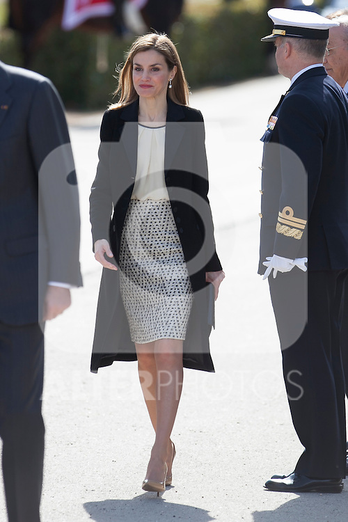 Queen Letizia of Spain during the Colombia´s President Juan Manuel Santos and his wife Maria Clemencia Rodriguez welcome ceremony at the Pardo Palace in Madrid, Spain. March 01, 2015. (ALTERPHOTOS/Victor Blanco)