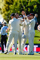 James Anderson and team mates celebrates the wicket of Henry Nicholls of the Black Caps  during the final day of the Second International Cricket Test match, New Zealand V England, Hagley Oval, Christchurch, New Zealand, 3rd April 2018.Copyright photo: John Davidson / www.photosport.nz
