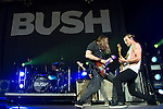 Robin Goodridge, Chris Traynor, and Gavin Rossdale of Bush perform at the Klipsch Music Center in Indianapolis, IN.
