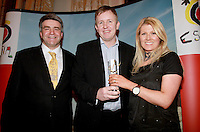 repro Free.from left to right: Eoghan Corry from Travel Extra, Ed Leahy RTE.ie Winner of the Northern Ireland, Journalist of the Year Sponsored by Discover Northern Ireland (NITB) and Fiona Cunningham NITB.Travel Extra,Travel Journalist of the Year Awards at the Thomas Prior House Ballsbridge. The event which was sponsored by The Spanish Tourist board gave out 12 awards for different catagories. .This year saw a huge increase in the number of submissions from previous years, displaying the creativity and continuning innovation of travel and tourism journalism in Ireland..Collins Photos 25/1/13