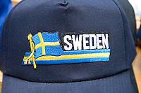 Baseball cap with flag of Sweden. Svenskarnas Dag Swedish Heritage Day Minnehaha Park Minneapolis Minnesota USA