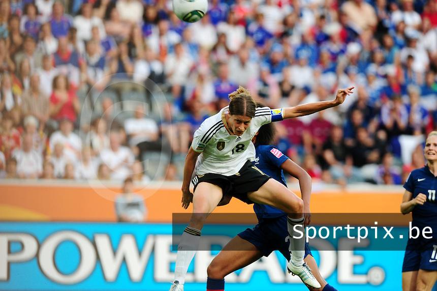Fifa Women's World Cup Germany 2011 : France - Germany ( Frankrijk - Duitsland ) at Munchengladbach World Cup stadium : Kerstin GAREFREKES scoort de 0-1 voor Duitsland.foto DAVID CATRY / Vrouwenteam.be
