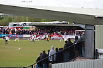 Action from the first-half at Key's Park during the Hednesford Town (in white) versus FC United of Manchester Northern Premier League premier division play-off final. The match would decide which club were promoted to the Blue Square Conference North. Hednesford won the game by 2 goals to 1 in front of a stadium record attendance of 4412 spectators.