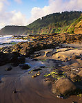 Lane County, OR:  Evening light on sand and rock beach under the headlands of the central Oregon coast