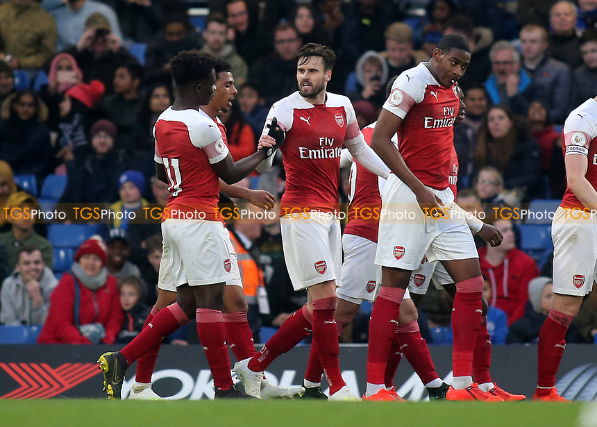 Carl Jenkinson celebrates scoring Arsenal's third goal during Chelsea Under-23 vs Arsenal Under-23, Premier League 2 Football at Stamford Bridge on 15th April 2019