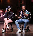 """Gabriella Sorrentino and Deon'te Goodman during the eduHAM Q & A before The Rockefeller Foundation and The Gilder Lehrman Institute of American History sponsored High School student #EduHam matinee performance of """"Hamilton"""" at the Richard Rodgers Theatre on October 30, 2019 in New York City."""