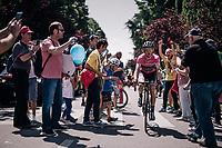 Maglia Rosa / overall leader Simon Yates (GBR/Mitchelton-Scott) at the race start in Abbiategrasso<br /> <br /> stage 18: Abbiategrasso - Pratonevoso (196km)<br /> 101th Giro d'Italia 2018
