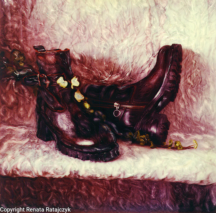 Still Life with Winter Shoes - #1 - Polaroid SX-70 photograph with some emulsion enhancement done by hand when the emulsion was still soft.