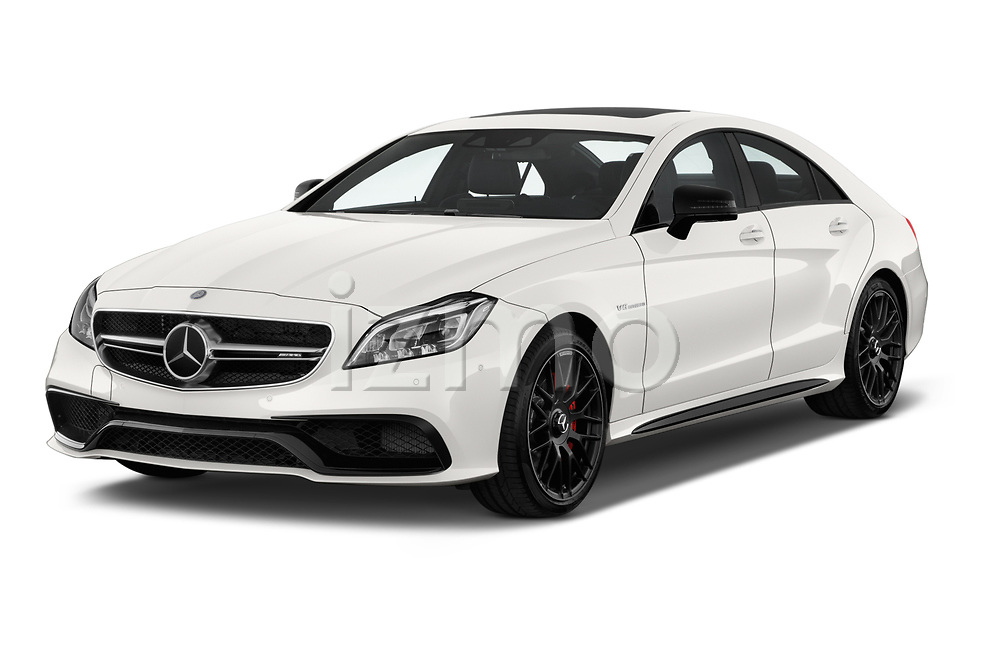 2017 Mercedes Benz CLS AMG-63-S 4 Door Sedan Angular Front stock photos of front three quarter view