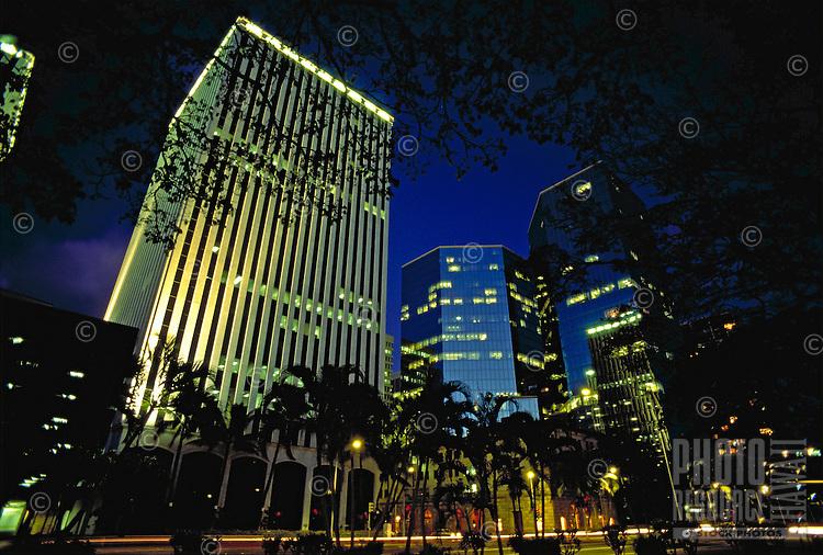 Downtown financial district, evening, Honolulu, Oahu
