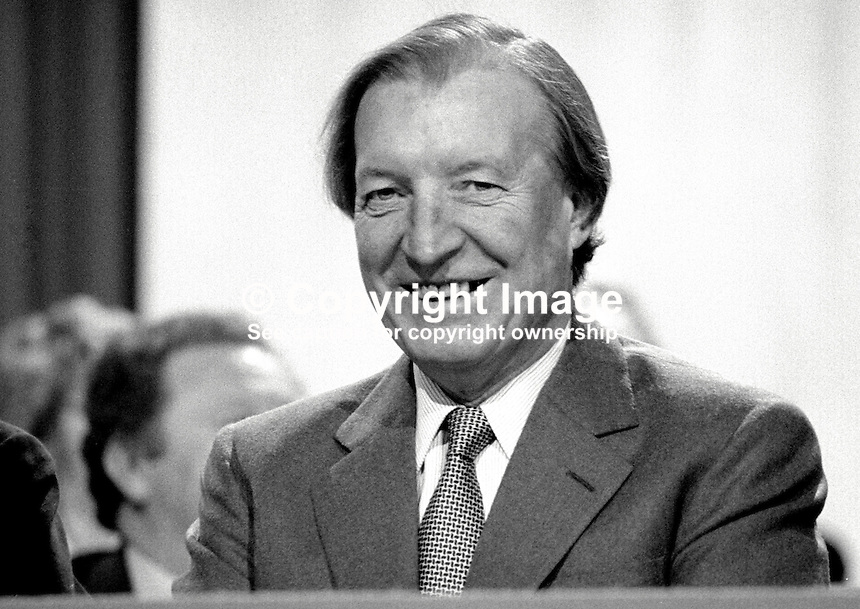 Charles Haughey, TD, Prime Minister, Taoiseach, Rep of Ireland, on platform  during Fianna Fail Ard Fheis, February 1981. 198102000032CH4.<br />