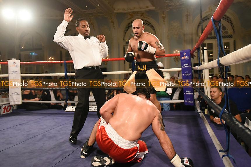Mohammed Aji Sharif (black/gold shorts) defeats Janos Attila Gyen during a Boxing Show at the Savoy Hotel on 24th November 2016