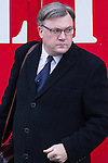 © Joel Goodman - 07973 332324 . 16/01/2014 . Salford , UK . ED BALLS , MP for  Morley and Outwood , arrives at the funeral . The funeral of Labour MP Paul Goggins at Salford Cathedral today (Thursday 16th January 2014) . The MP for Wythenshawe and Sale East died aged 60 on 7th January 2014 after collapsing whilst out running on 30th December 2013 . Photo credit : Joel Goodman