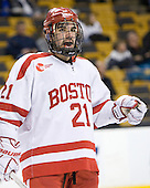 Sean Escobedo (BU - 21) - The Boston University Terriers defeated the Harvard University Crimson 3-1 in the opening round of the 2012 Beanpot on Monday, February 6, 2012, at TD Garden in Boston, Massachusetts.