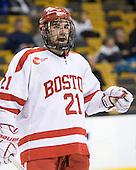 Sean Escobedo (BU - 21) - The Boston University Terriers defeated the Harvard University Crimson 3-1 in the opening round of the 2012 Beanpot on Monday, February 6, 2012, at TD Garden in Boston, Massachusetts.