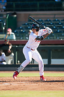 Scottsdale Scorpions designated hitter Darick Hall (30), of the Philadelphia Phillies organization, at bat during an Arizona Fall League game against the Surprise Saguaros at Scottsdale Stadium on October 26, 2018 in Scottsdale, Arizona. Surprise defeated Scottsdale 3-1. (Zachary Lucy/Four Seam Images)