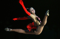 "Anna Bessonva of Ukraine split leaps during gala exhibition at 2007 World Cup Kiev, ""Deriugina Cup"" in Kiev, Ukraine on March 16, 2007."