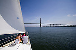 Family sailing sailboat charleston harbor bridge cooper river