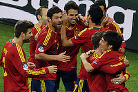 01.07.2012 Kiev, Ukraine.  Spain's David Silva (R) celebrates with teammates after scoring the goal for 1-0 during the UEFA EURO 2012 final soccer match Spain vs. Italy at the Olympic Stadium in Kiev, Ukraine, 01 July 2012.