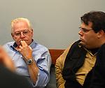 Dick Yarwood and Tom Ferrara in Newsday Photo Department staff meeting on Tuesday May 16, 2006. (Photo Copyright Jim Peppler 2006).