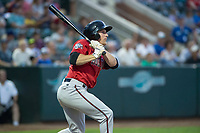Billings Mustangs center fielder Drew Mount (8) lines a ball to right field during a Pioneer League game against the Ogden Raptors at Lindquist Field on August 17, 2018 in Ogden, Utah. The Billings Mustangs defeated the Ogden Raptors by a score of 6-3. (Zachary Lucy/Four Seam Images)