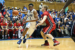 02 November 2013: Duke's Jabari Parker (1) moves past Drury's Sean Osler (41). The Duke University Blue Devils played the Drury University Panthers in a men's college basketball exhibition game at Cameron Indoor Stadium in Durham, North Carolina. Duke won the game 81-65.