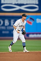 Akron RubberDucks shortstop Ernie Clement (6) during an Eastern League game against the Reading Fightin Phils on June 4, 2019 at Canal Park in Akron, Ohio.  Akron defeated Reading 8-5.  (Mike Janes/Four Seam Images)
