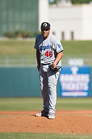 Glendale Desert Dogs relief pitcher Andre Scrubb (46), of the Los Angeles Dodgers organization, looks in for the sign during an Arizona Fall League game against the Surprise Saguaros at Surprise Stadium on November 13, 2018 in Surprise, Arizona. Surprise defeated Glendale 9-2. (Zachary Lucy/Four Seam Images)