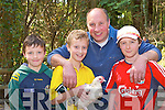 Sean, Giles, Billy and David O'Connor Scartaglen looking at the hens at the Munster Poultry sale and show in Coolwood Killarney on Sunday..
