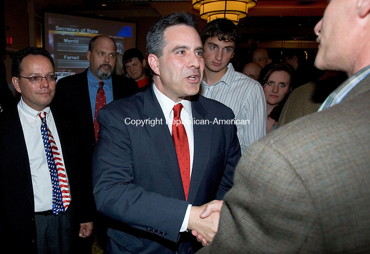 WATERBURY, CT. 02 November 2010-110210SV06--Sam S. F. Caligiuri thanks supporter after loosing to Congressman Chris Murphy in the 5th congressional district race in Waterbury Tuesday. <br /> Steven Valenti Republican-American