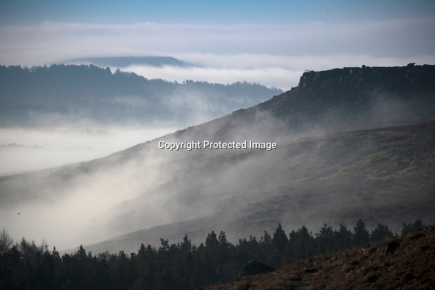 14/02/19<br /> <br /> After a cold still night with high pressure a warm day is forecast making for spectacular cloud inversions <br /> like this one looking south from Upper Burbage near Hathersage in the Derbyshire Peak District.<br /> <br /> All Rights Reserved, F Stop Press Ltd +44 (0)7765 242650  www.fstoppress.com rod@fstoppress.com