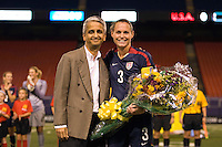 United States (USA) defender Christie Rampone (3) is honored for her 200th national team appearance by US Soccer Federation president Sunil Gulati. The women's national team of the United States (USA) defeated the Republic of Ireland (IRL) 1-0 during an international friendly at Giants Stadium in East Rutherford, NJ on September 17, 2008. Photo by Howard C. Smith/isiphotos.com