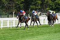 Winner of The AJN Steelstock Sovereign Stakes  Regal Reality ridden by Richard Kingscote and trained by Sir Michael Stoute during Horse Racing at Salisbury Racecourse on 9th August 2020