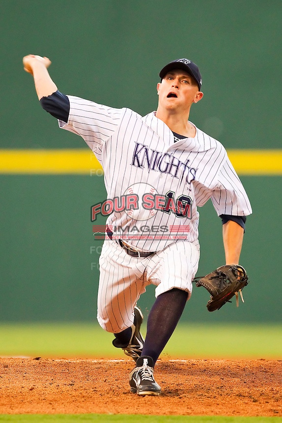 Starting pitcher Joe Bisenius #19 of the Charlotte Knights in action against the Indianapolis Indians at Knights Stadium on July 26, 2011 in Fort Mill, South Carolina.  The Knights defeated the Indians 5-4.   (Brian Westerholt / Four Seam Images)