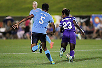 Piscataway, NJ - Wednesday Sept. 07, 2016: Maya Hayes, Jasyne Spencer during a regular season National Women's Soccer League (NWSL) match between Sky Blue FC and the Orlando Pride FC at Yurcak Field.