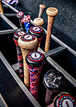 22 September 2018: A collection of Wilmer Difo's bats are ready to be used in a game between the Washington Nationals and the New York Mets at Nationals Park in Washington, DC. The Nationals shut out the Mets 6-0 in the 3rd game of their 4-game series. Mandatory Credit: Ed Wolfstein Photo *** RAW (NEF) Image File Available ***
