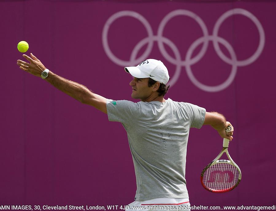 Roger Federer..Tennis - OLympic Games -Olympic Tennis -  London 2012 -  Wimbledon - AELTC - The All England Club - London - Saturday 28th June  2012. .© AMN Images, 30, Cleveland Street, London, W1T 4JD.Tel - +44 20 7907 6387.mfrey@advantagemedianet.com.www.amnimages.photoshelter.com.www.advantagemedianet.com.www.tennishead.net
